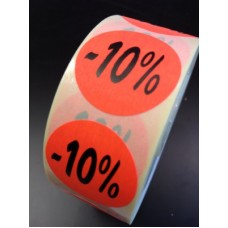 Fluor Sticker Etiket fluor rood 27mm -10% 500/rol