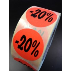 Fluor Sticker Etiket fluor rood 27mm -20% 500/rol