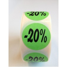 Fluor Sticker Etiket groen 27mm -20% 500/rol