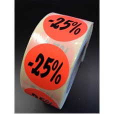 Fluor Sticker Etiket fluor rood 27mm -25% 500/rol
