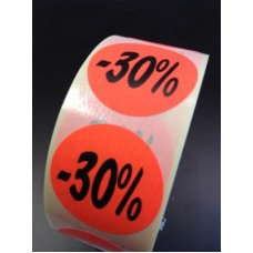 Fluor Sticker Etiket fluor rood 27mm -30% 500/rol