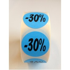 Fluor Sticker Etiket blauw 27mm -30% 500/rol