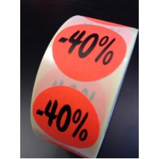 Fluor Sticker Etiket fluor rood 27mm -40% 500/rol