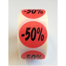Fluor Sticker Etiket rood 27mm -50% 500/rol