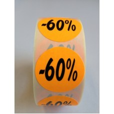 Fluor Sticker Etiket oranje 27mm -60% 500