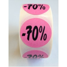 Fluor Sticker Etiket rose 27mm -70% 500/rol